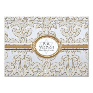 Bat Mitzvah - Elegant Floral Leaf Damask Baroque Card