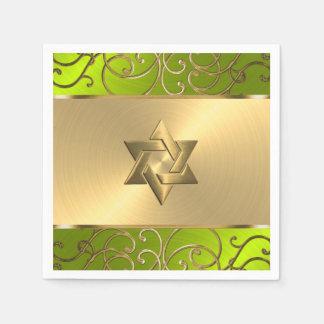 Bat Mitzvah Elegant Lime Green Gold Filigree Napkin