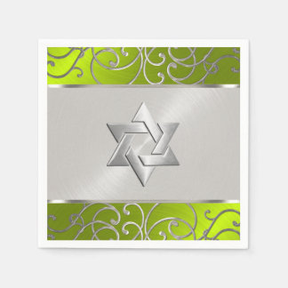 Bat Mitzvah Elegant Lime Green Silver Filigree Napkin