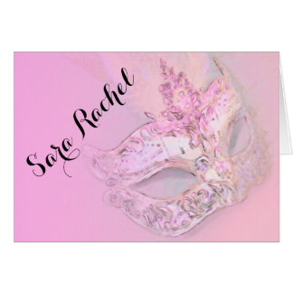 Bat Mitzvah Elegant Mask Pink Stationery Note Card