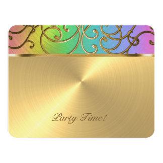 Bat Mitzvah Elegant Rainbow and Gold Filigree 4.25x5.5 Paper Invitation Card