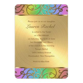 Bat Mitzvah Elegant Rainbow and Gold Filigree 5x7 Paper Invitation Card