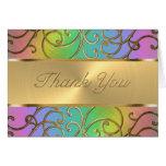 Bat Mitzvah Elegant Rainbow and Gold Filigree Stationery Note Card