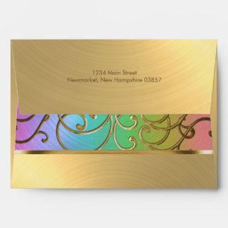 Bat Mitzvah Elegant Rainbow and Gold Filigree Envelope