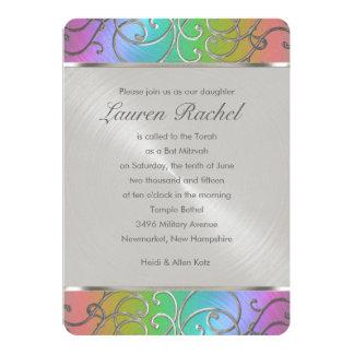 Bat Mitzvah Elegant Rainbow and Silver Filigree 5x7 Paper Invitation Card