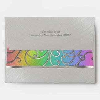 Bat Mitzvah Elegant Rainbow and Silver Filigree Envelopes
