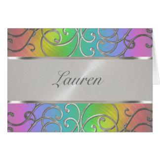 Bat Mitzvah Elegant Rainbow and Silver Filigree Stationery Note Card