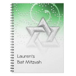 Bat Mitzvah Emerald Shimmer Star of David Notebook