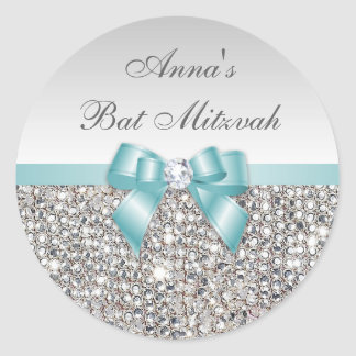 Bat Mitzvah Faux Silver Sequins Teal Bow Diamond Classic Round Sticker