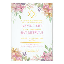 Bat Mitzvah Floral Invite Glitter Girl Star Gold