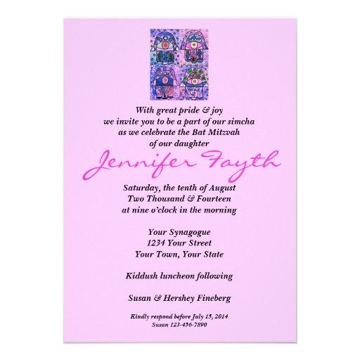 Bat Mitzvah - Four Pink Hamsa Vintage Tapastry Invitation