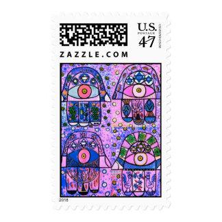 Bat Mitzvah - Four Pink Hamsa Vintage Tapastry Postage Stamp