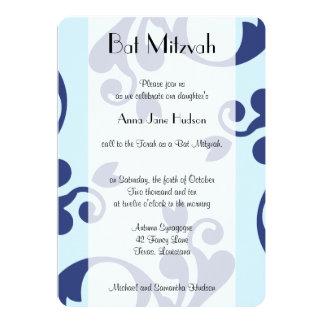 Bat Mitzvah - French Damask, Swirls - Blue Custom Invitations