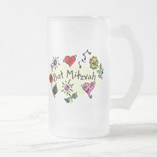 Bat Mitzvah Frosted Glass Beer Mug