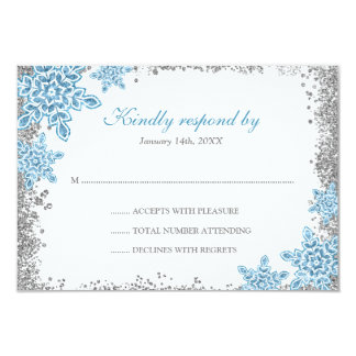 Bat Mitzvah Glam Winter Wonderland Blue RSVP Card