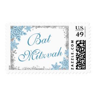 Bat Mitzvah Glam Winter Wonderland Silver Blue Postage Stamp