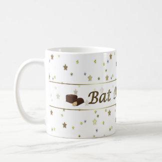 Bat Mitzvah Gold Tiny Stars on White Mug