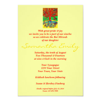 Bat Mitzvah:Hearts Grow Into Butterflies Tree Life 5x7 Paper Invitation Card