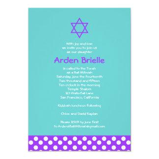 "Bat Mitzvah Invitation Arden Mandy 5"" X 7"" Invitation Card"