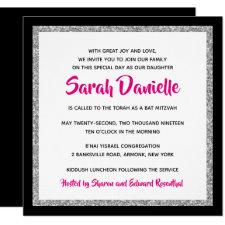 Bat Mitzvah Invitation | Black, Silver, Hot Pink