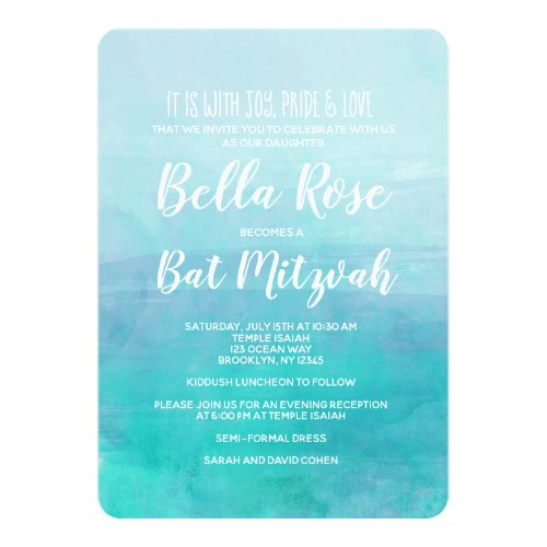 Bat Mitzvah Invitation Blue Watercolor Ombre