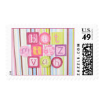 Bat Mitzvah Invitation Candy Stripes Stamp