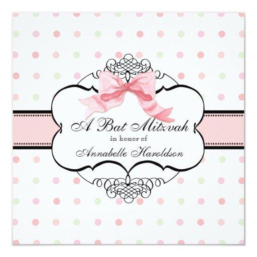 "Bat Mitzvah Invitation - French Bow Dot Swirl 5.25"" Square Invitation Card"