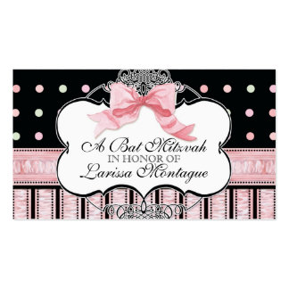 Bat Mitzvah Invitation - French Bow Dot Swirl Business Card Template