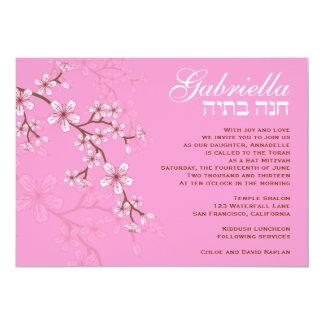 """Bat Mitzvah Invitation Gabriella Pink Flowers 5"""" X 7"""" Invitation Card"""