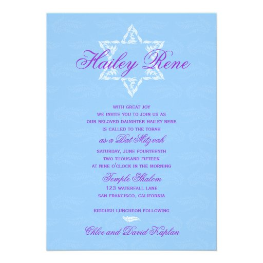 Bat Mitzvah Invitation Hailey with Damask Blue