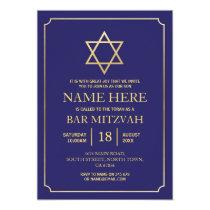Bat Mitzvah Invitation Jewish Navy Star Blue Gold