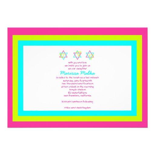 Bat Mitzvah Invitation Marissa Malka Pink Blue
