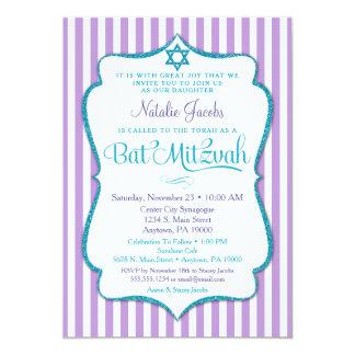 Bat Mitzvah Invitation Purple Teal Elegant Stripe