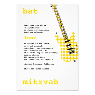 Bat Mitzvah Invitation Rock Star White Yellow