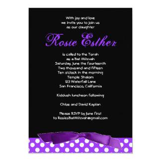 Bat Mitzvah Invitation Rosie Purple Bow Black