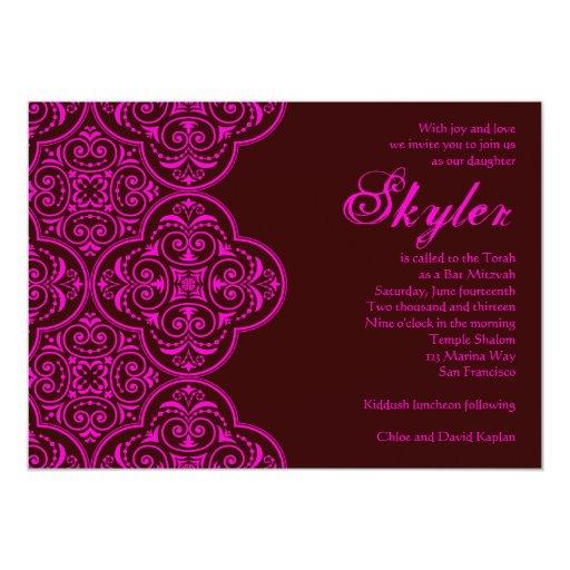 Bat Mitzvah Invitation Skyler Brown Pink Vintage