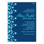 "Bat Mitzvah Invitations Allison Flowers Blue 036 5"" X 7"" Invitation Card"