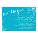 BAT MITZVAH INVITE elegant flourish turquoise aqua