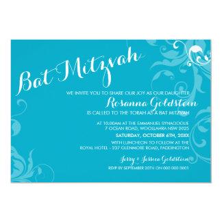 """BAT MITZVAH INVITE elegant flourish turquoise aqua 5"""" X 7"""" Invitation Card"""