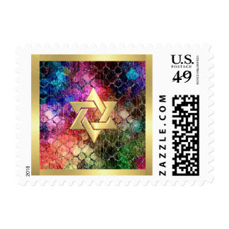 Bat Mitzvah Jewel Tones Shimmery Abstract Pattern Postage