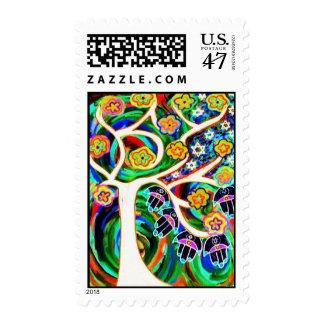 Bat Mitzvah - Judaica Hamsa Ivory Tree Of Life Postage Stamp