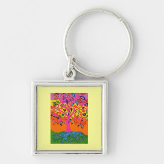 Bat Mitzvah 'KeyChain GiveAway' Tree Of Life Silver-Colored Square Keychain