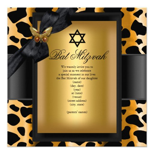 Bat Mitzvah Leopard Gold Black Butterfly Personalized Announcements