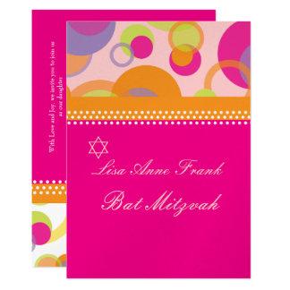 Bat  Mitzvah+Mod Bubbles/orange/hot pink Card