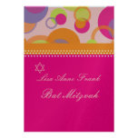 Bat  Mitzvah+Mod Bubbles/orange/hot pink Personalized Invitations