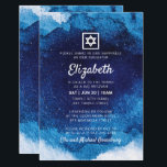 "Bat Mitzvah Modern Blue Watercolor Invitation<br><div class=""desc"">Composed of playful script and serif typography; All against a backdrop of blue watercolor background. 