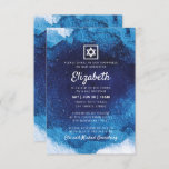 """Bat Mitzvah Modern Blue Watercolor Invitation<br><div class=""""desc"""">Composed of playful script and serif typography; All against a backdrop of blue watercolor background.   This is designed by Select Party Supplies,  exclusive for Zazzle.  Available here: http://www.zazzle.com/selectpartysupplies</div>"""