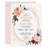 Bat Mitzvah | Modern Gold Frame Watercolor Floral Card