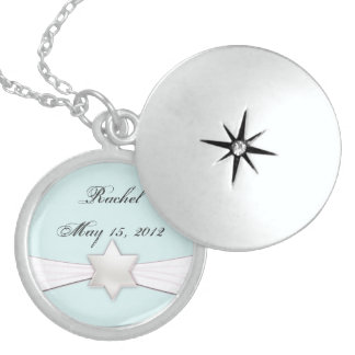 Bat Mitzvah necklace in light blue and white