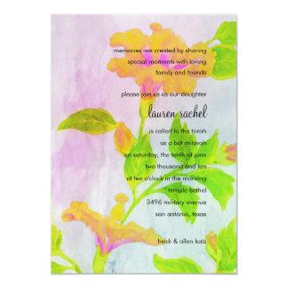 Bat Mitzvah Orange Hibiscus 5x7 Paper Invitation Card